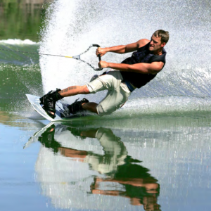 a wakeboarder enjoying Lewis Smith Lake